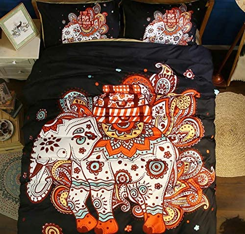 SDIII 2PC Mandala Bedding Twin Size Indian Elephant Duvet Cover Sets Boho Bed Set Twin Color product image