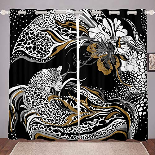 Homemissing Cortina con estampado de leopardo, diseño de guepardo, diseño de animales salvajes, para decoración de habitación de niños y niñas, diseño floral, 66 x 72 cm
