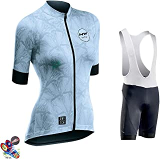 Women's Cycling Jersey Jacket Shirt Short Sleeve + Bib Shorts with 19D Gel Padded Quick Dry Breathable Mountain Clothing,B,5XL