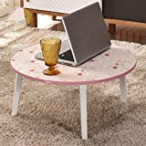 FFLSDR Foldable Computer Desk Bed with Small Table Bay Window Table Lazy Table Round Tatami Writing Desk (Color : E)