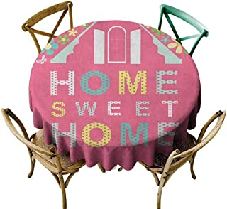 W Machine Sky Wrinkle Free Tablecloths Home Sweet Home,Abstract Roof and Window Surrounded by Colorful Flowers and Butterflies, Multicolor Diameter 36