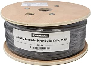 Lightkiwi S2951 14AWG 2-Conductor 14/2 Direct Burial Wire for Low Voltage Landscape Lighting, 250ft