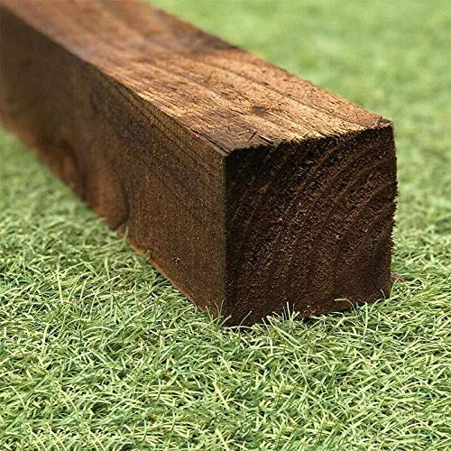 Photo of Square wooden post 6ft X 3″ pack of 4 fence posts stained treated garden timber wood 1.8m X 75mm