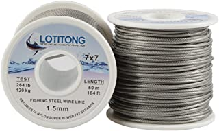 LOTITONG 50 meters 264lb fishing steel wire line 7x7 49 strands Trace Coating Wire Leader Coating Jigging Wire Lead Fish Jigging Line Fishing Wire Stainless Steel Leader Wire 1.5mm
