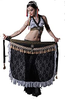 ZLTdream Women's Tribal Lace Belly Dance Bra Top and Tassel Hip Scarf 2pcs/Set