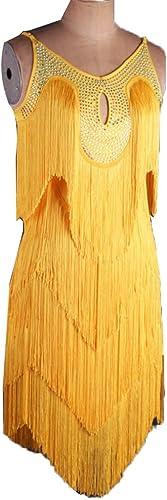 MoLiYanZi Encrypted Frangé Costume de Danse Latine pour Femme Robe de Compétition Dos Nu Fronde Jupe de Danse Latine Perforhommece Professionnelle