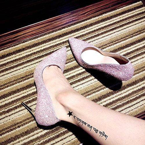 Xue Qiqi Escarpins Chaussures de Mariage Chaussures Femmes Simples Filles Filles Talons Hauts Bien avec des Chaussures de mariée Rose Pointu Chaussures de Mariage, 32, Fleur de Cerisier en Poudre 8CM
