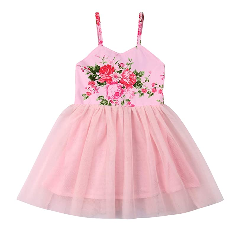 Flower Girls Backless Floral Printed Pink Lace Tutu Dress Toddler Kids Princess Party Dresses Sundress