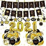 Decoración Graduación 2021-62 Piezas Suministros de fiesta graduación de Incluye 2 pancartas de graduación, 24 espirales colgantes, 30 globos, globos de graduación 2021 para decoración de graduación