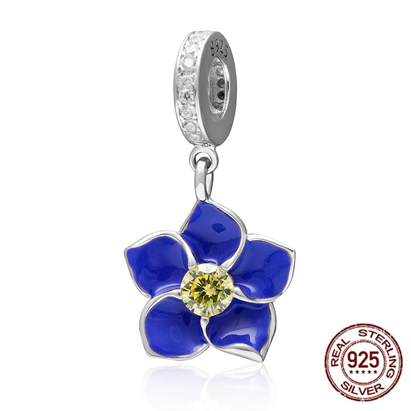 Orchid Pendant Dangle Charm - Authentic 925 Sterling Silver Flower Beads - Fit DIY Charms Bracelat