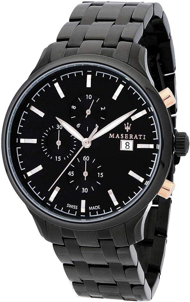 Maserati orologio da uomo, collezione attrazione, in acciaio, pvd nero 8033288734543