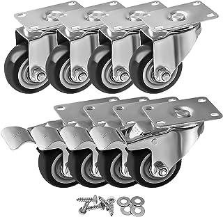 8 Pack 3 Inch Combo Caster Swivel Plate 4 w/Brake & 4 Plate Heavy Duty on Black PU Wheels with Heavy Duty Screws