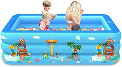 hammock Piscina Inflable Familiar, Piscina Inflable Piscina Desmontable, Piscina Hinchable Infantil Rectangular Piscina Ducha Plegable,para niños y Adultos - Azul