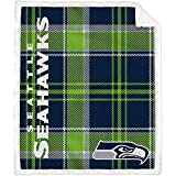 Pegasus Home Fashions Seattle Seahawks 60'' x 70'' Plaid Ultra Fleece Sherpa Throw Blanket