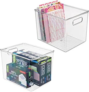 mDesign Plastic Storage Bin with Handles for Office, Desk, Book Shelf, Filing Cabinet - Organizer for Sticky Notes, Pens, Notepads, Pencils, Supplies - BPA Free, 10