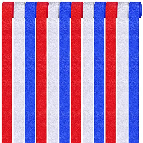 Supla 12 Pack Patriotic Crepe Paper Streamers Party Streamers Backdrop Red Blue White Crepe Paper Rolls for American 4th of July Crafts Patriotic Memorial Day Decorations Photo Booth Backdrop