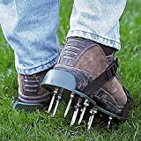 caiyuangg Lawn Aerator Spike Shoes, 4 Universal Adjustable Buckle Straps, 26 Nails Aerating Lawn Sandals Loose Soil Shoes for Lawn Aerating