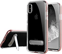 """HONTECH Compatible iPhone Xs Max 6.5"""" 2018 Case, Slim Fit Clear TPU Backpanel Hard Frame Magnetic Metal Kickstand Cover"""