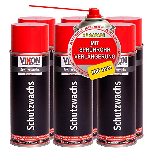 6 Dosen VIKON Schutzwachs-Spray 400 ml - transparente Konservierung (Hohlraumversiegelung / Hohlraumkonservierung) mit Sprührohrverlängerung