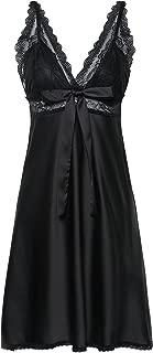 BellisMira Women's Satin Lace Full Slip Chemise Silk Nightgown Sleepwear