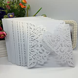 Anself 20Pcs Lace Wedding Party Invitation Card for Bridal Shower Birthday, Heart Pattern Pattern 2 White