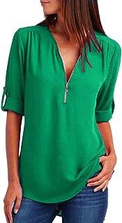 LANSKIRT Tallas Grandes y Mangas largas de Blusa de Gasa de Solapa Casual para Mujer Chiffon Ladies OL Trabajo Top Camisa de Mujeres