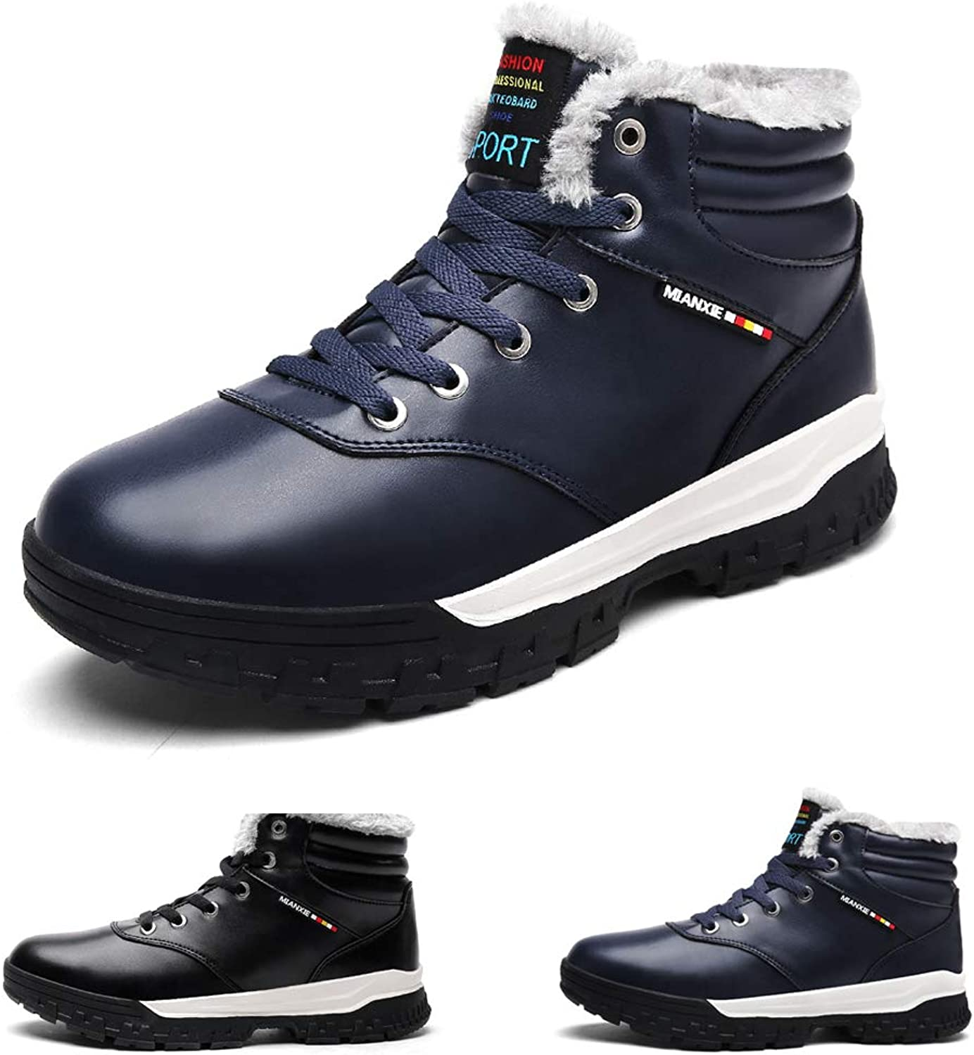Men Winter Snow Boots Warm Leather Fur Lined Non Slip Casual Outdoor Boots High Rise shoes Lace up Trekking shoes