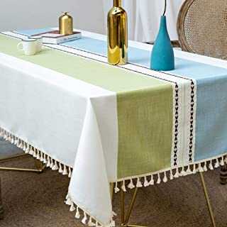 Deep Dream Tablecloths, Stitching Tassel Table Cloth Cotton Linen Wrinkle Free Anti-Fading Table Cover Decoration for Kitchen Dinning Party, 55 x 86 Inch - Blue & Green