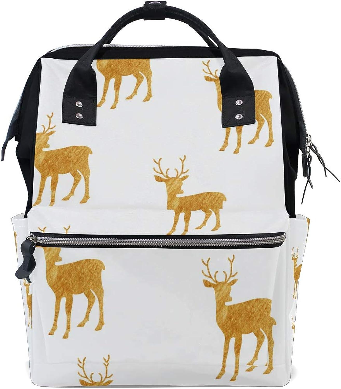 DEZIRO Canvas White gold Elk School Pack Backpacks Travel Bag