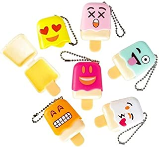 Emoji Face Emoticon Ice Pop Lip Gloss Keychain Birthday Party Favors, 12 ct