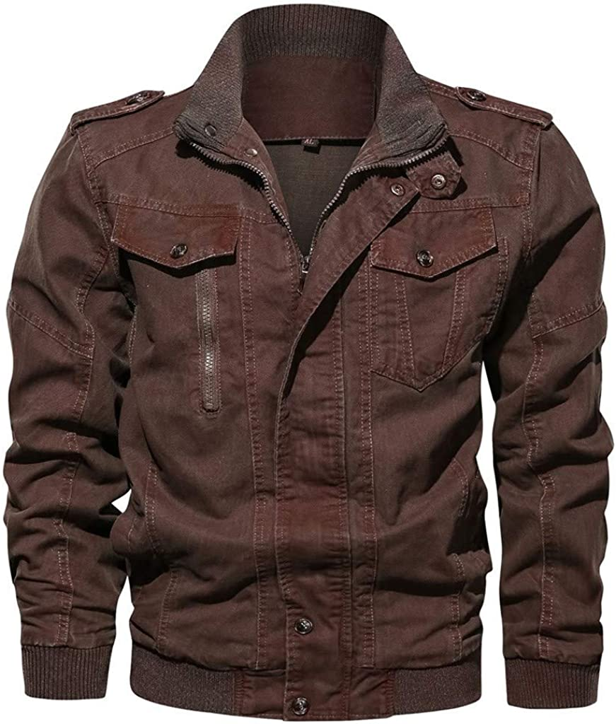 Men's Jacket-Military Casual Vintage Retro Lightweight Full Zip Buttons Fall Winter Washed Jackets Outwear Coat