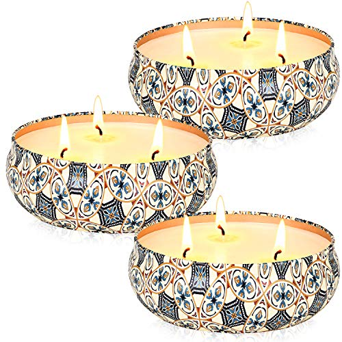 Airvibe Citronella Candles Outdoor and Indoor 3 x 13.5 Oz,3 Cutton Wicks Scented Candles Gift Set,Aromatherapy Candles Natural Soy Wax Candle in Portable Travel Tin 3 Pack