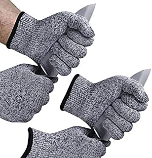 EvridWear 2-Color Combo Cut Resistant Gloves with Cut Level 5 Protection, EN388 Certified Food Grade, Strong Silicone Grip Dots, 2 Pairs Combo Deal, Lifetime Replacement (Large, Gray+Gray)