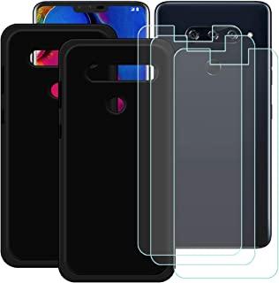 YZKJ [2 stycken skal för LG V40 ThinQ Cover svart mjuk silikon skyddande skydd TPU skal fodral 3 x pansarglas skärmskydd f...