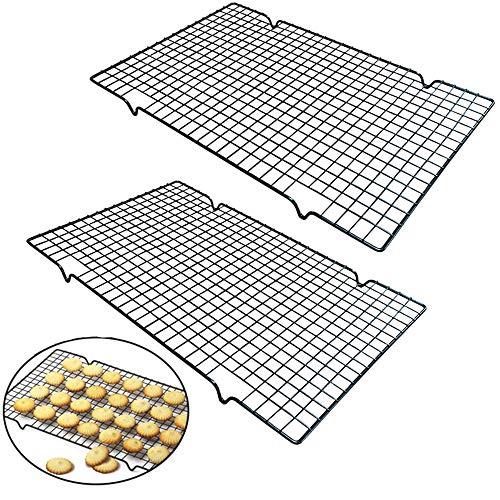Nuluxi Auskühlgitter Edelstahl Grillrost Eckig Metall Kuchenauskühler Backen Grillen Kühlen Auskühlen Tortenkühler Kuchengitter Abkühlgitter Geeignet für Braten Backen Grillen Kühlen Auskühlen-2 Stück