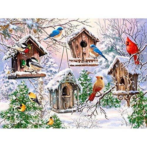 5D DIY diamante pintura pájaros Kit de punto de cruz taladro completo bordado mosaico invierno imágenes de animales con diamantes de imitación decoración A9 45x60cm
