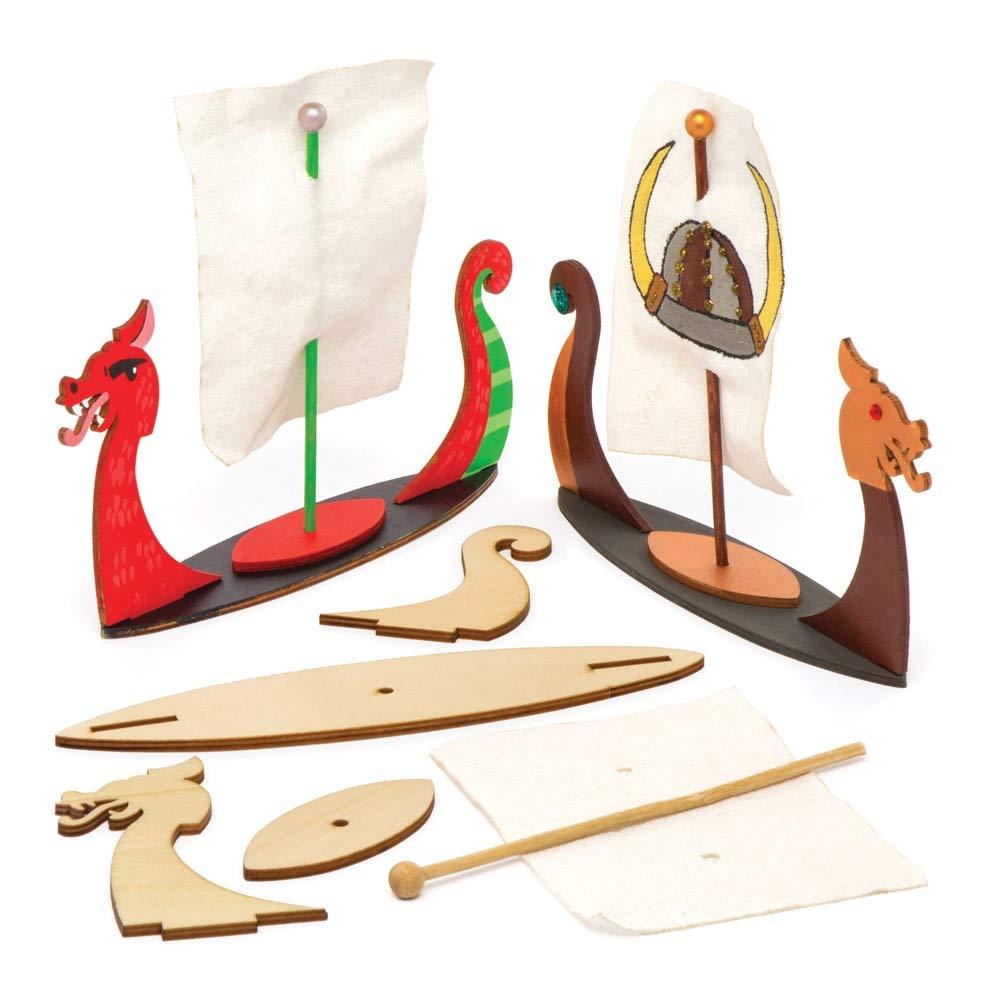 Baker Ross Aw671 Kit de Barcos Vikingos en 3D Hechos de Madera para Montar, Decorar y Exhibir (Pack de 3) - Actividad de Manualidades Infantiles: Amazon.es: Amazon.es