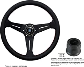 Nardi Deep Corn 350mm (13.78 Inches) Leather Steering Wheel w/Black Spokes and Hub Adapter Compatible With Mazda Miata NB/...