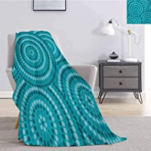 Luoiaax Teal Faux Fur Blanket Warm Cozy Abstract Aboriginal Tradition Dot Painting Australian Indigenous Folk Artwork Circle Shapes Comfortable Soft Warm Large Blanket W70 x L70 Inch Teal