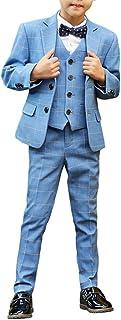 男の子 フォーマルタキシードスーツ 5ピースセット ジャケット+パンツ+ベスト+シャツ+蝶ネクタイ3色 ブラック/ネイビー/格子柄