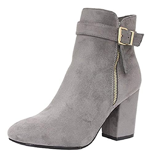 f9103d23ca4 Saute Styles Ladies Womens Mid High Block Heels Casual Buckle Chelsea Ankle  Boots Shoes Size 3