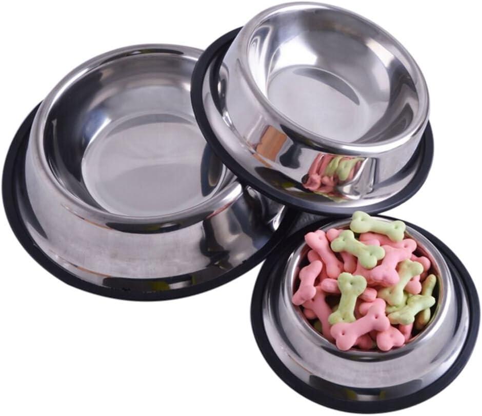 JUNKE Pet Bowl depot Stainless Regular store Steel DiWWFJZ S Non-Skid for Feeder