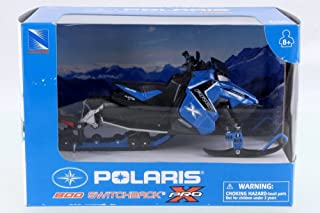 New Ray Polaris 800 Switchback Pro Snow Mobile, Blue w/ Black 57783B - 1/16 Scale Vehicle Replica