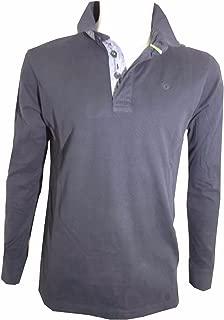 Guy polo maglia manica lunga uomo M L XL 2XL 3XL t-shirt caldo cotone grigia blu
