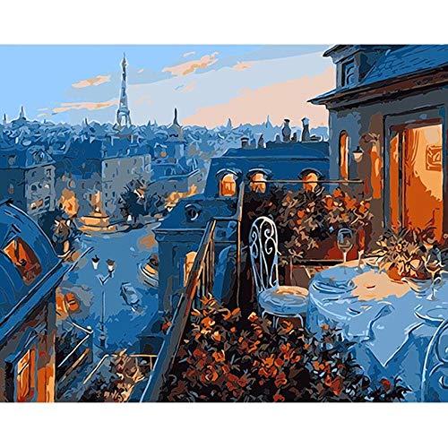 SDHJMT Anfänger Malen nach Zahlen Kit Bild-Wanddekoration der Oben Restaurantzusammenfassungs-Ölfarbe Digitale Leinwand DIY ölgemälde 16x20inch