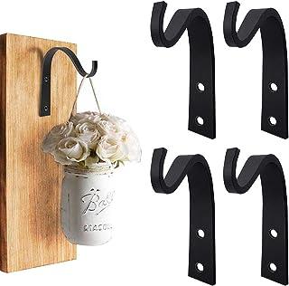 4 Pcs Iron Wall Hooks Metal Lantern Bracket Decorative Coat Hook, Heavy Duty Plant Hanger Bracket for Planters, Bird Feede...