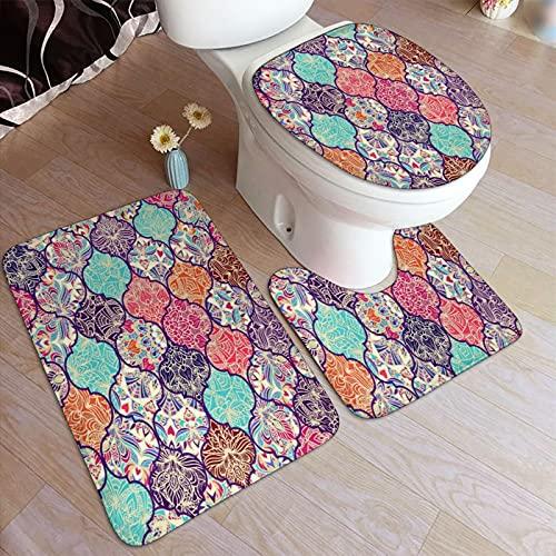 Ttrsudddsyy Juego de alfombras de baño de 3 Piezas,Colorido Mosaico de Azulejos marroquíes orien, Almohadillas Antideslizantes Alfombrilla de baño + Contorno + Cubierta de Tapa de Inodoro Almohadilla