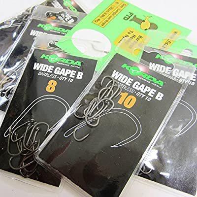 FTD - Min 20 (2 packs of 10) KORDA (WIDE GAPE) Barbless (EYED) Carp Fishing Hooks - Single Size & Combinations - Sizes 4 to 12 - Comes with 10 FTD Hooks to Nylon (2 packs - size 10)
