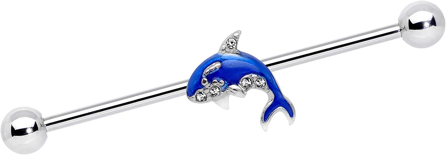 Body Candy Womens 14G 316L Steel Helix Cartilage Earring Clear Accent Orca Whale Industrial Barbell 1 1/2