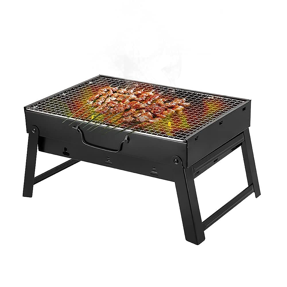 Portable BBQ Grill Stainless Steel Foldable Charcoal Barbecue Grill with Stand Indoor Outdoor